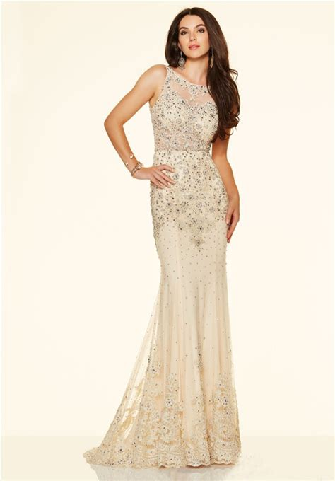 mermaid sleeveless open back see through chagne lace