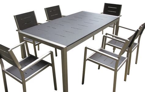 aluminum 7 piece square dining table and chairs set