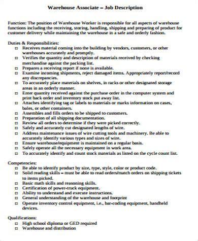 Operations Associate Description by Warehouse Associate Description Sle 8 Exles In Word Pdf