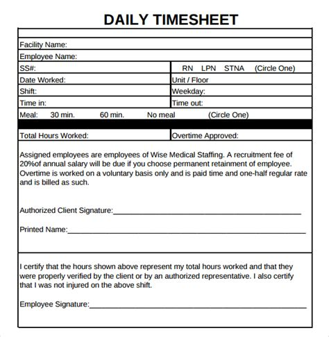Formsfroms Daily Time Card Template by 20 Daily Timesheet Templates Free Sle Exle