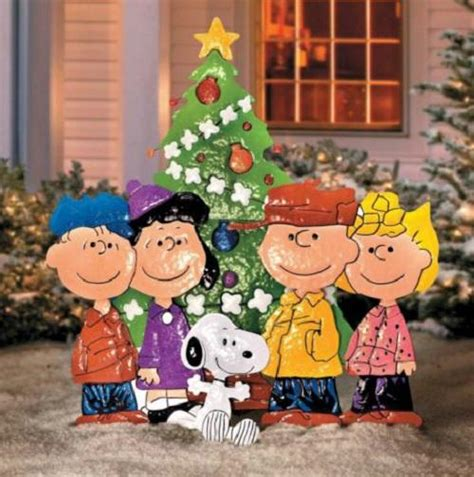 outdoor metal christmas peanuts charlie brown friends yard