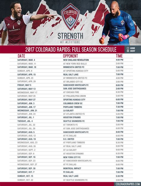 schedule colorado rapids