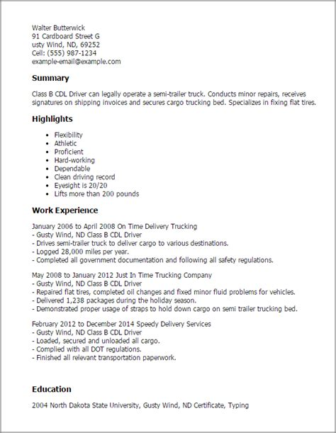 B Resume Templates by Class B Cdl Driver Resume Template Best Design Tips
