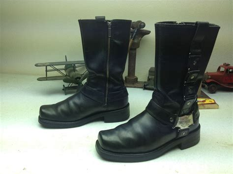 motocross boots size 9 square toe harley davidson black leather motorcycle