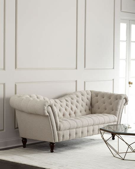 southern couch cream linen recamier sofa