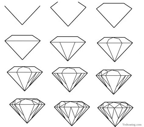 simple pattern drawings how to draw a simple diamond gemstone pattern easy free