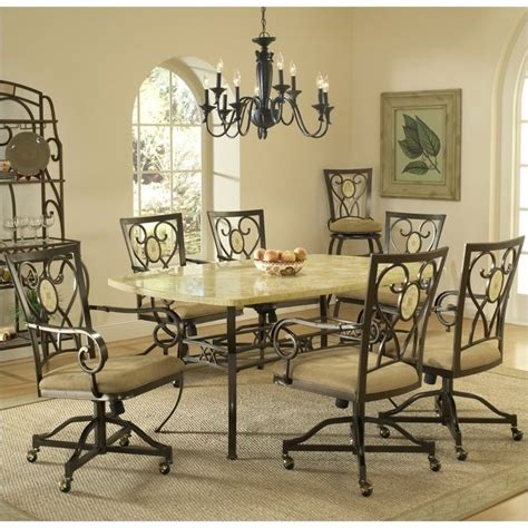 Hillsdale Brookside 7 Piece Dining Set With Oval Caster Caster Chairs Dining Set