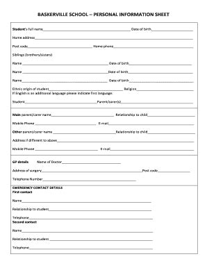 editable personal information sheet  students fill