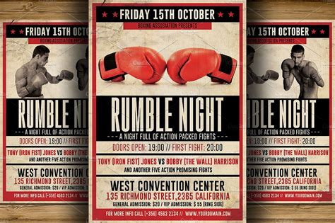 vintage boxing flyer template flyer templates creative