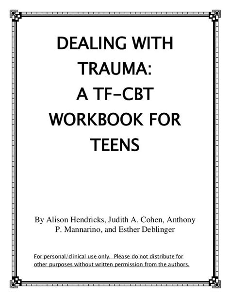 cbt worksheets for teens dealing with trauma a tf cbt