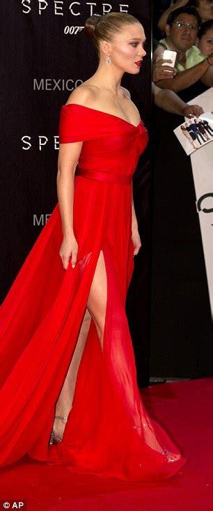 lea seydoux red dress spectre s lea seydoux and naomie harris attend james bond