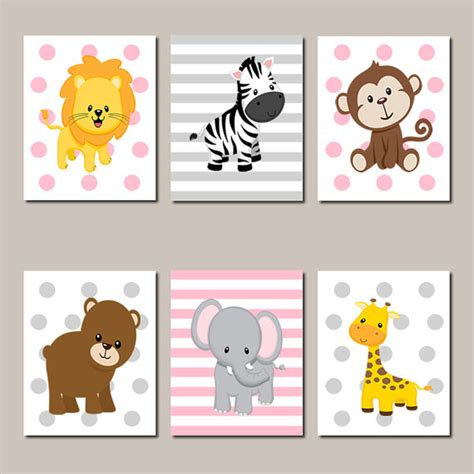 kinderzimmer wand ideen jungle animals nursery wall jungle nursery prints or