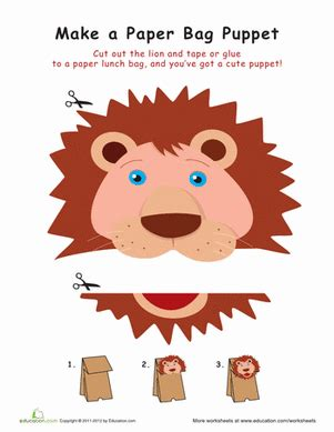 How To Make A Paper Bag Puppet Of A Person - paper bag puppet worksheet education