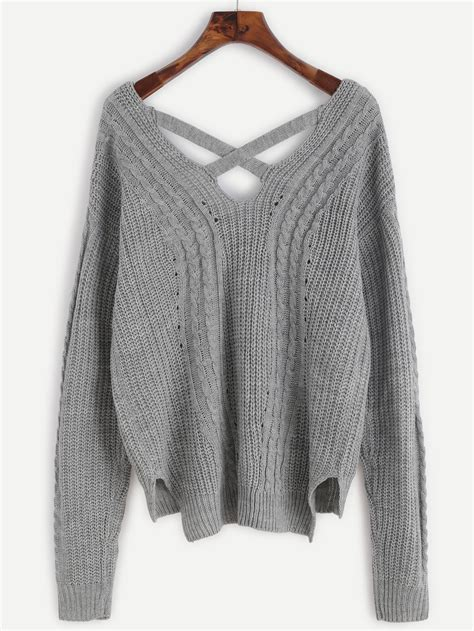 K01 Sweater Cross 2colour grey cable knit criss cross back sweater shein sheinside
