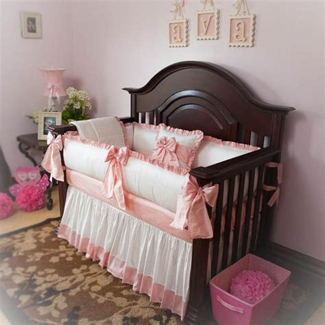 designer custom made white pink princess 5pc crib