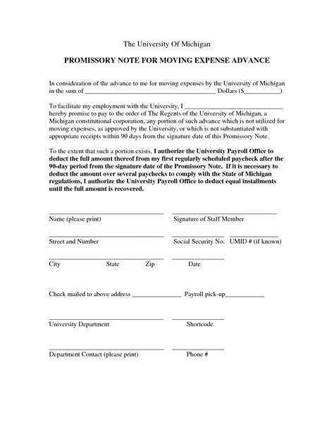 promissory note form free printable documents