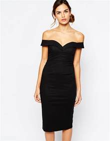 bardot sweetheart off shoulder dress in black lyst