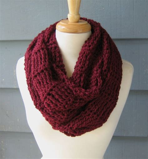 Maroon Knit Infinity Scarf Accessories