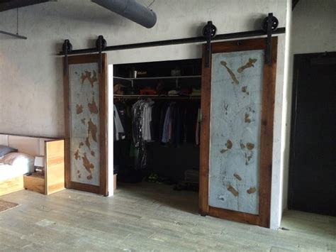 Industrial Closet Doors Sliding Barn Door Bipart Reclaimed Wood Galv Industrial Doors Industrial Interior Doors