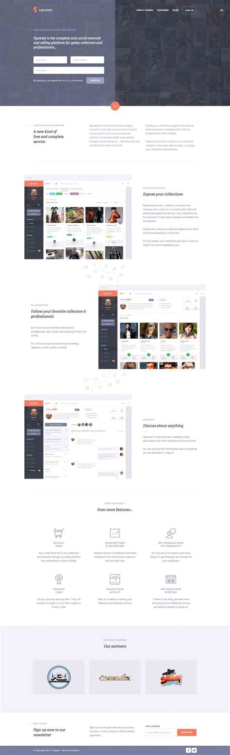 social network layout inspiration squireel social network and selling platform webdesign