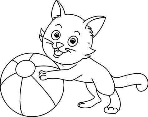 cats playing coloring pages cat playing ball coloring page wecoloringpage