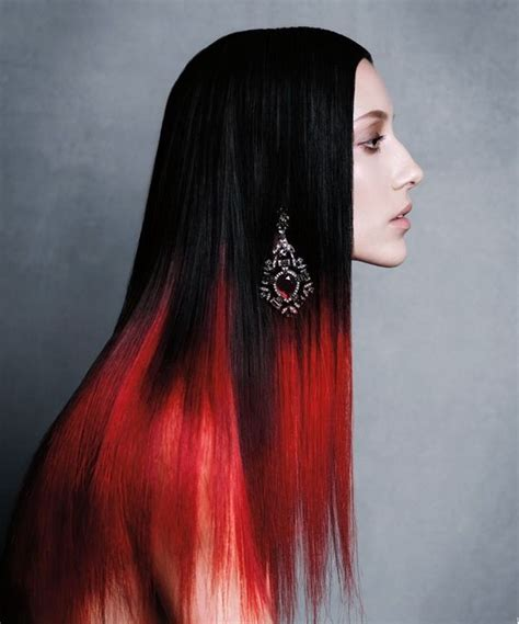 hairstyles red and black hair black and red ombre dyed hair tip or dip dye