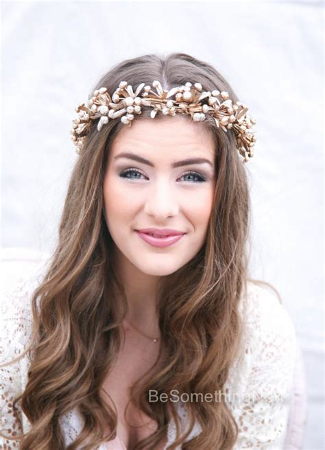 Hiasan Rambut Headpiece 4 rustic gold bridal flower crown boho headpiece of golden berries and leaves wedding crown