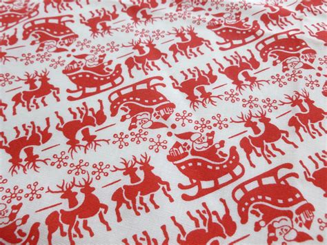 red and white upholstery fabric vintage christmas fabric red and white santa claus reindeer