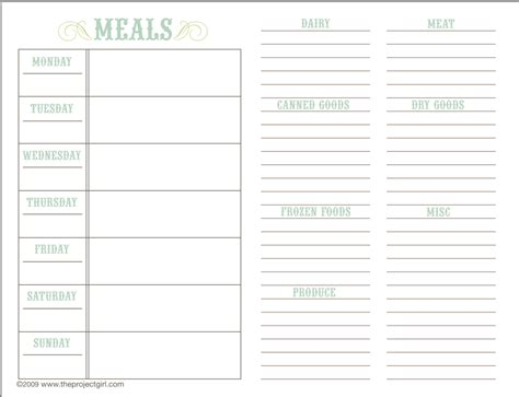 printable meal planner black and white search results for black amp white planner printable