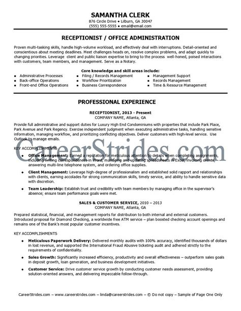 Receptionist Resume Exles by Receptionist Resume Sle Exle