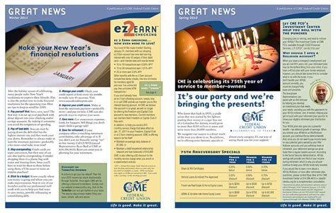 Credit Union Newsletter Cme Federal Credit Union Creative Abandon Connect Creatively