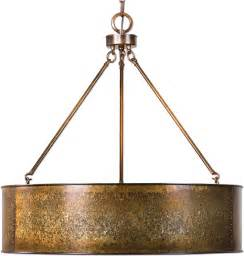 drum pendant light fixture uttermost 22067 wolcott retro golden galvanized drum