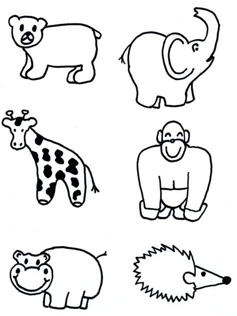 simple zoo coloring page animal shapes to cut out az coloring pages