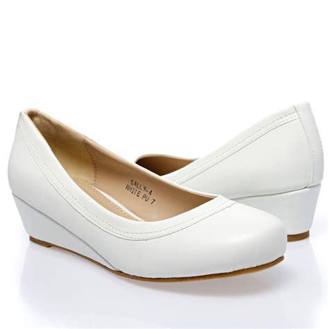 white toe ballerina ballet med low wedge heel