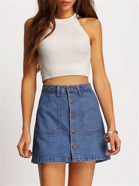 single breasted denim a line skirt shein sheinside