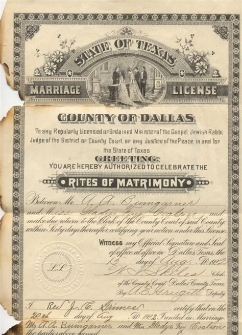 Tx Marriage License Records Bumgarner Family Line