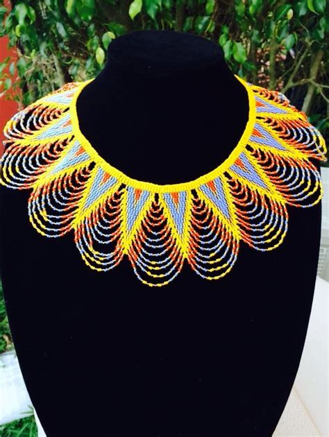 Back Kn71167 Kalung Choker Natal Lace Flower handmade beaded zulu necklace follow us on social media femmes royales beaded statement
