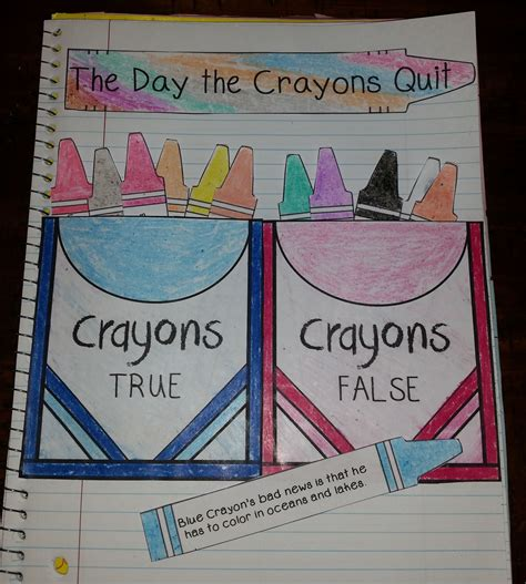 libro the day the crayons the day the crayons quit interactive notebook activities task cards writing
