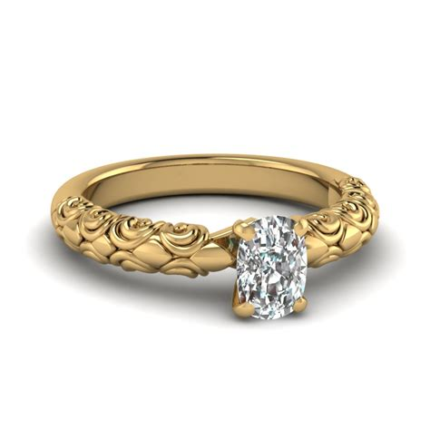 cushion cut filigree accent solitaire engagement