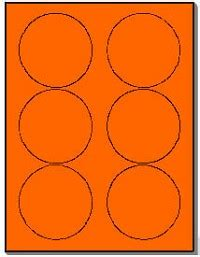 120 Round Neon Labels 3 33 Inch Fluorescent Orange Stickers 6 Labels Per Sheet 20 Sheets Use Avery 3 Inch Labels Template