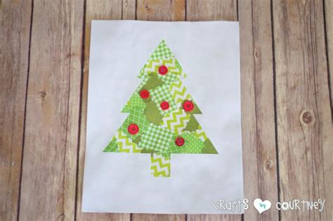 kids diy scrapbook paper christmas tree silhouette art