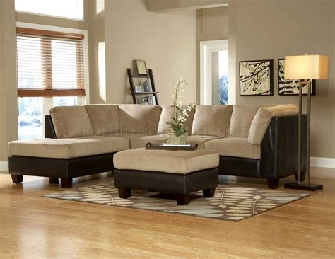 two tone sofa living room ideas 9838br royce sectional sofa in light brown microfiber by