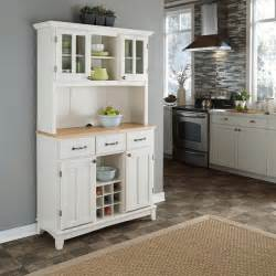 Kitchen Buffet Hutch Furniture white hutch buffet with wood top storage furniture cabinet sideboard