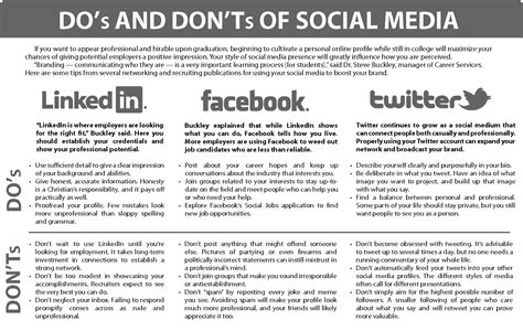 infographic do s and don ts of social media the collegian