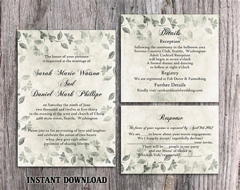 vintage rustic diy wedding invitation template diy rustic wedding invitation template set editable word