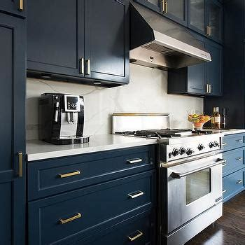 Navy Blue Butler Pantry Cabinets with Brass Cup Pull