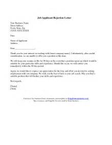 resume rejection letter resume cover letter exle