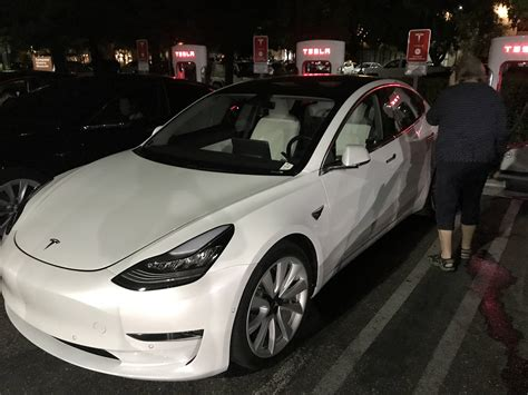 Tesla Availability Tesla Model 3 With White Interior Option Spotted Ahead Of