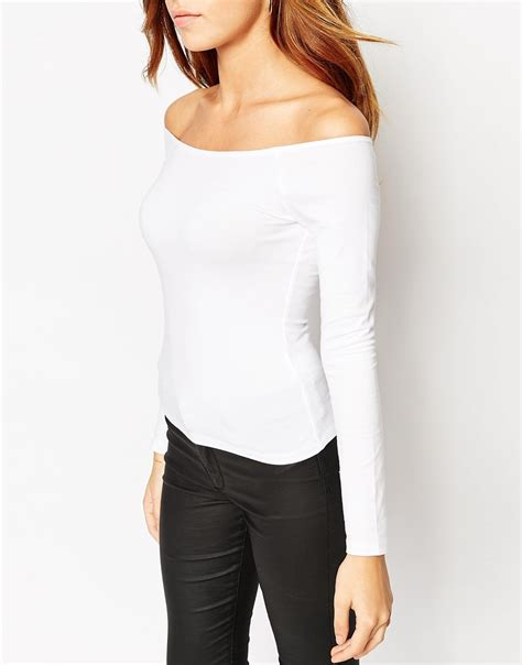 Shoulder Sleeve Top lyst asos the shoulder top with sleeves in white