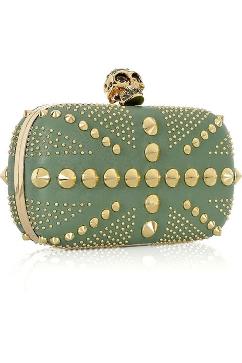 Mcqueen Safety Pin Purse by Mcqueen S Green Leather Box Clutch In A Clutch
